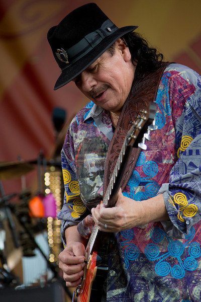 Carlos Santana performs during the New Orleans Jazz & Heritage Festival 2014 at the Fairgrounds Race Track, New Orleans Louisiana.