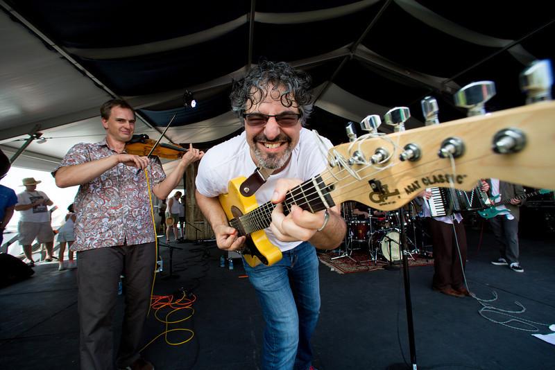 Jonathan Freilich of The New Orleans Klesmer Allstars performs during the New Orleans Jazz & Heritage Festival 2014 at the Fairgrounds Race Track, New Orleans Louisiana.