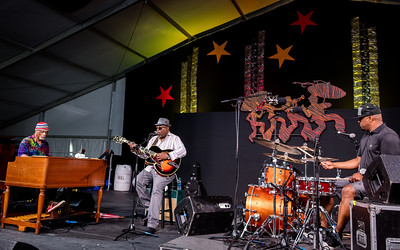 The Mashup fesuring Ike Stubblefield, Terence Higgins and Grant Green Jr. performs during the New Orleans Jazz & Heritage Festival 2016 at the Fairgrounds Race Track in New Orleans Louisiana.