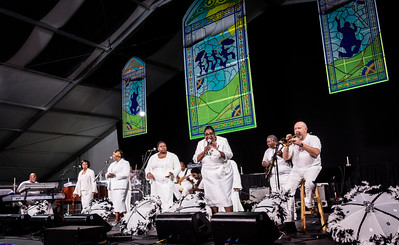 The New Orleans Spiratualettes performs during the New Orleans Jazz & Heritage Festival 2016 at the Fairgrounds Race Track in New Orleans Louisiana.