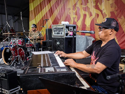 Ivan Neville's Dumpstaphunk with Art Neville performs during the New Orleans Jazz & Heritage Festival 2016 at the Fairgrounds Race Track in New Orleans Louisiana.