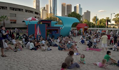 The Arts Centre converted to a beach