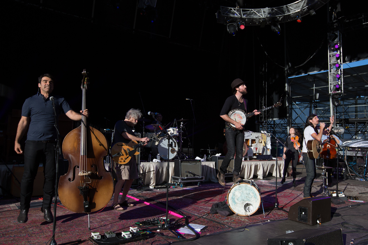 Bob Weir sits in with The Avett Brothers during their performance at the Mountain Jam festival at Hunter Mountian, Hunter, NY
