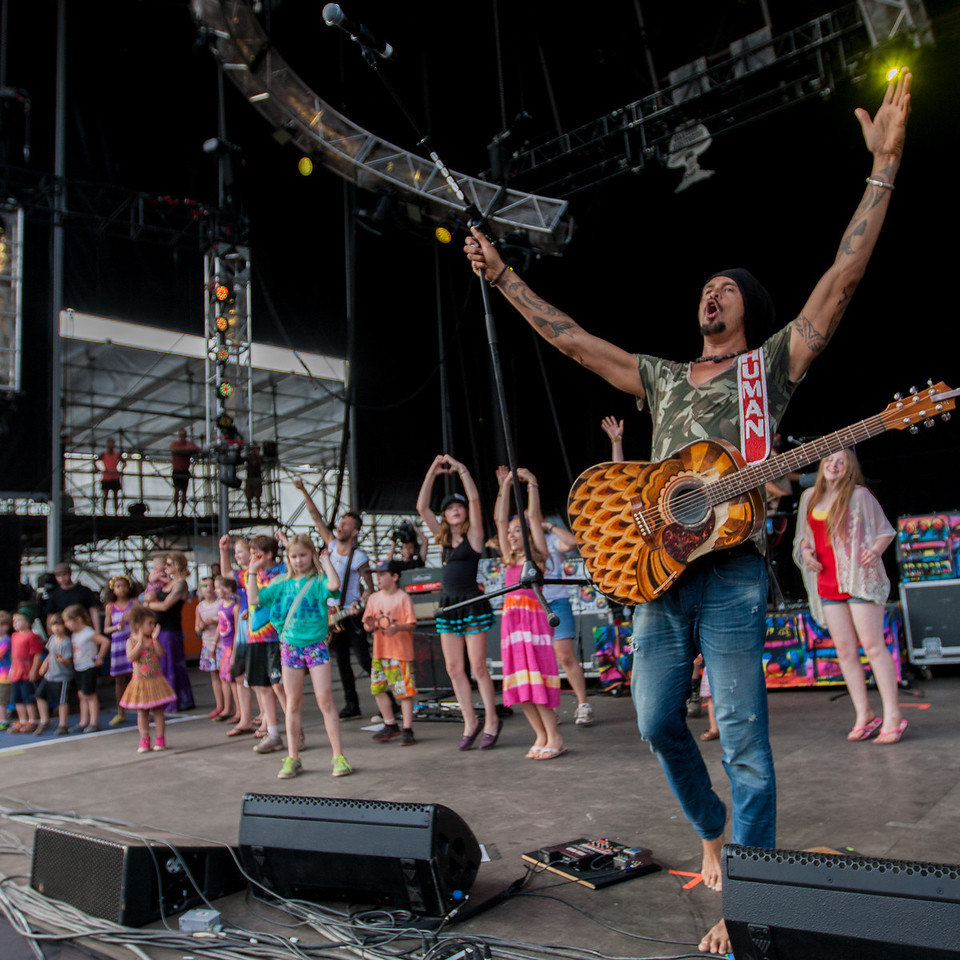 Michael Franti and Spearhead performs during Mountain Jam at Hunter Mountian, Hunter, NY