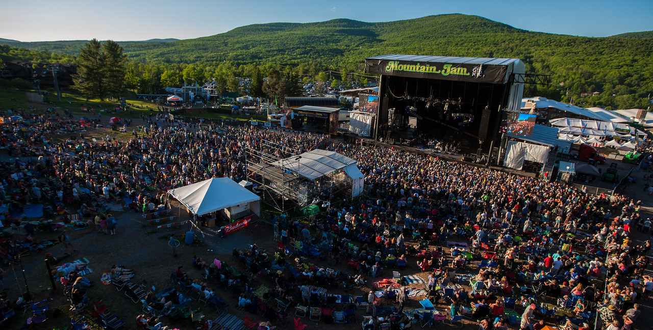 Aerials of the venue during Derek Trucks and Susan Tedeschi of the Tadeschi Trucks Band performs during Mountain Jam at Hunter Mountian, Hunter, NY