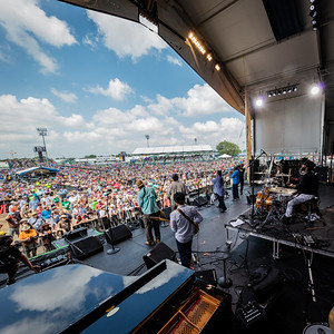 The Dirty Dozen Brass Band performs during the New Orleans Jazz & Heritage Festival 2016 at the Fairgrounds Race Track in New Orleans Louisiana.