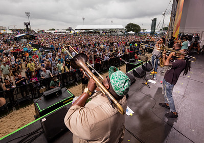 The Soul Rebels Brass Band performs during the New Orleans Jazz & Heritage Festival 2016 at the Fairgrounds Race Track in New Orleans Louisiana.