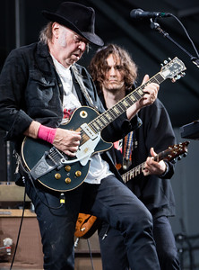Neil young and Promise of the Real performs during the New Orleans Jazz & Heritage Festival 2016 at the Fairgrounds Race Track in New Orleans Louisiana.