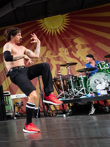 The Red Hot Chili Peppers perform during the New Orleans Jazz & Heritage Festival 2016 at the Fairgrounds Race Track in New Orleans Louisiana.
