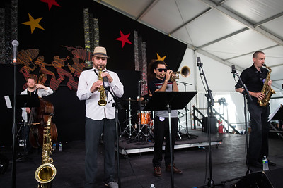 Derek Douget performs during the New Orleans Jazz & Heritage Festival 2016 at the Fairgrounds Race Track in New Orleans Louisiana.