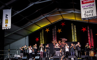 Trumpet Mafia performs during the New Orleans Jazz & Heritage Festival 2016 at the Fairgrounds Race Track in New Orleans Louisiana.