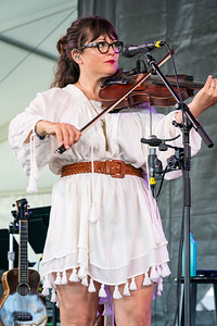"""Sara Watkins of """"I'm with Her"""" perform during the 60th annual Newport Folk Festival 2019 at Fort Adams State Park in Newport RI."""