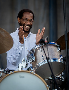 Brian Blade performs during the Newport Jazz Festival 2016 at Fort Adams State Park in Newport RI.
