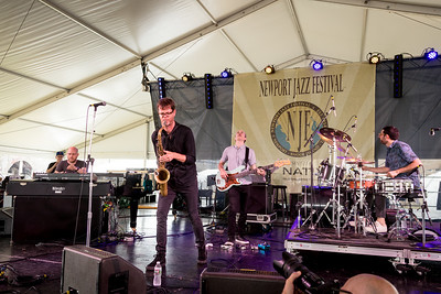 Donny McCaslin - Sax / Jason Lindner - Piano / Nate Wood- bass / Mark Guiliana – drums performs during the Newport Jazz Festival 2016 at Fort Adams State Park in Newport Rhode Island.