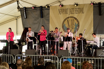 Berklee Global Jazz Ambassadors  Mao Sone - trumpet / Edmar Colon  - sax / Isaac Wilson  - piano / Seungho Jang - bass / Anthony Fung - drummer / John Patitucci  - bass / Patricia Zarate – alto sax / Danilo Perez -director/piano/composer  performs during the Newport Jazz Festival 2016 at Fort Adams State Park in Newport Rhode Island.