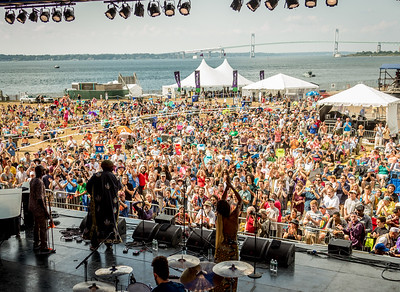 Kamasi Washington – tenor sax / Patrice Quinn  - vox / Miles Mosley - bass  / Tony Austin – D.S. / Ricky Washington – flute/ Robert Miller  - D.S. performs during the Newport Jazz Festival 2016 at Fort Adams State Park in Newport Rhode Island.