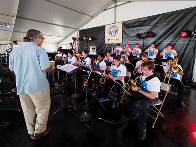 The MMEA All State Jazz Band performs during the Newport Jazz Festival 2016 at Fort Adams State Park in Newport Rhode Island.