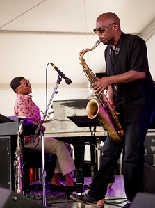 Christian Sands – Piano and  Marcus Strickland – Sax perform during the Newport Jazz Festival 2016 at Fort Adams State Park in Newport Rhode Island.