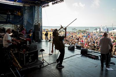 Galactic Ben Ellman -tenor sax / Jeff Raines - guitar / Rich Vogel  - Keyboard / Robert Mercurio  - bass / Stanton Moore – drums  performs during the Newport Jazz Festival 2016 at Fort Adams State Park in Newport Rhode Island.