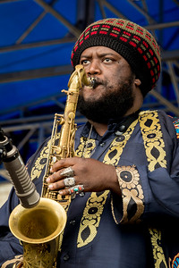 Kamasi Washington performs during the Newport Jazz Festival 2016 at Fort Adams State Park in Newport Rhode Island.