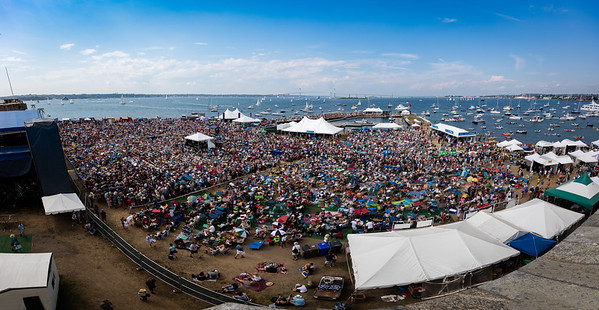 A view of the crowd from the roof of the fort during the Newport Jazz Festival 2016 at Fort Adams State Park in Newport RI.