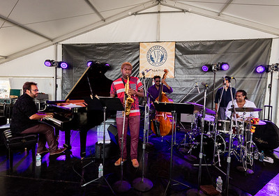 Yosvany Terry Qintet Michael Rodriguez - Trumpet Osmany Paredes - Piano Yunior Terry - Bass Obed Calvaire – Drums  performs during the Newport Jazz Festival 2016 at Fort Adams State Park in Newport Rhode Island.