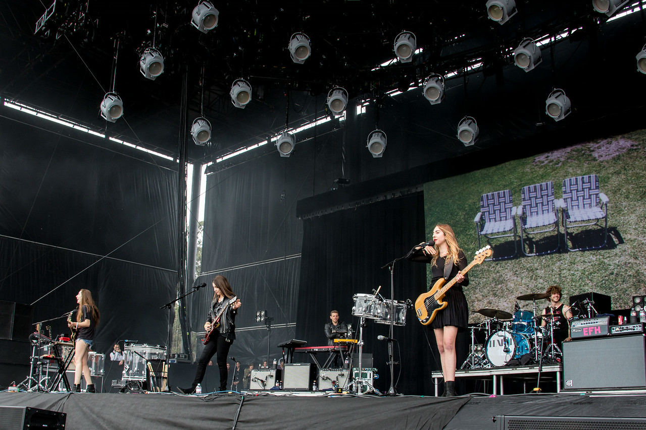 Haim performs during the Outside Lands Music and Arts Festival 2014 in Golden Gate Park, Sanfrancisco CA.
