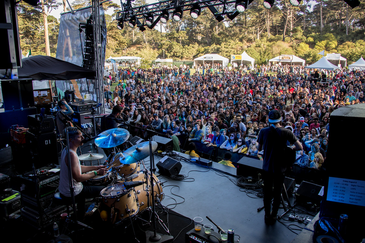 Bear Hands performs during the Outside Lands Music and Arts Festival 2014 in Golden Gate Park, Sanfrancisco CA.