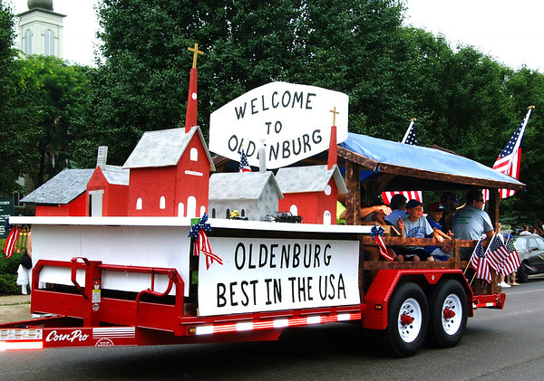 Debbie Blank | The Herald-Tribune<br /> THE BEST FLOAT award went to Gehring Inc. for its charming village scene. Other trophies were awarded in these categories: Best Classic Vehicle, Laudick Trucking, Sunman; Best Farm Equipment, Lea Fledderman, 1971 Case 870 Black Knight; and Best Fire Apparatus, Batesville Fire & Rescue Department Ladder 47.