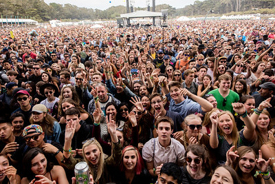 St Lucia performs during the Outside Lands Music Festival 2016 in Golden Gate Park, San Francisco California.
