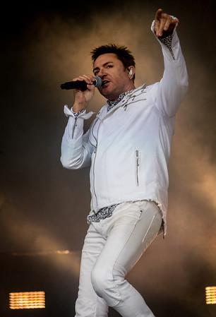 Duran Duran performs during the Outside Lands Music Festival 2016 in Golden Gate Park, San Francisco California. Simon Le Bon- Singer John Taylor- bass Dom Brown- Guitar