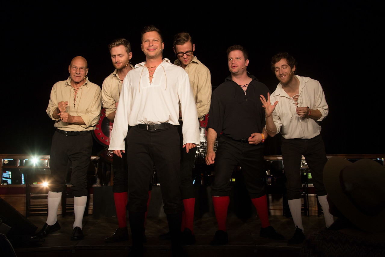 The Improvised Shakespeare Company performs during the Outside Lands Music and Arts Festival 2014 in Golden Gate Park, Sanfrancisco CA. Actors (L-R) Patrick Stewart, Josh Logan, Blaine Swen, Ross Bryant, Joey Bland, and Thomas Middleditch.
