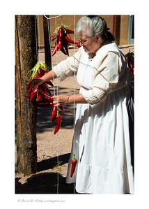Making chili wreaths, Pueblo Museum, Pueblo Chili and Frijoles Festival