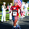 Debbie Blank | The Herald-Tribune<br /> Patriotic Roni Craft, Sunman, carried an American flag on the entire route.
