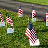 Debbie Blank | The Herald-Tribune<br /> Flags, which could be purchased for $10 each, recognized current and past military members by name. After they were on display at the American Legion post, the flags were moved to the Sunman Community Park so fall fest attendees could view them.