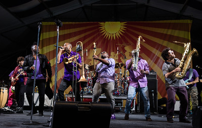 Trombone Shory and Orleans Avenue perform during the New Orleans Jazz & Heritage Festival 2016 at the Fairgrounds Race Track in New Orleans Louisiana.