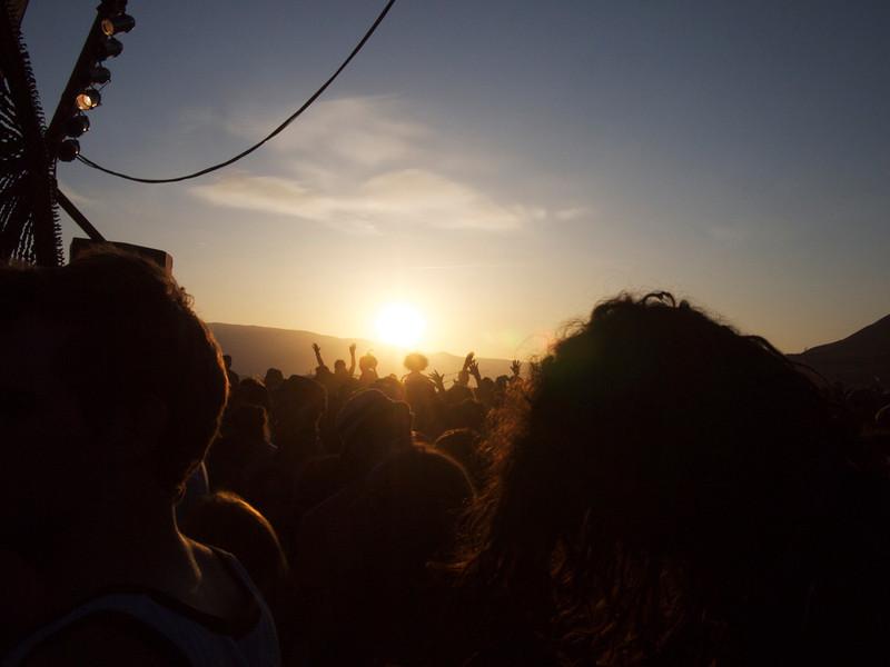 celebrating the sunset at symbiosis gathering