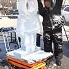 Jerry Neaves of Artic Diamond, Cincinnati, spent the afternoon creating a beautiful ice sculpture.