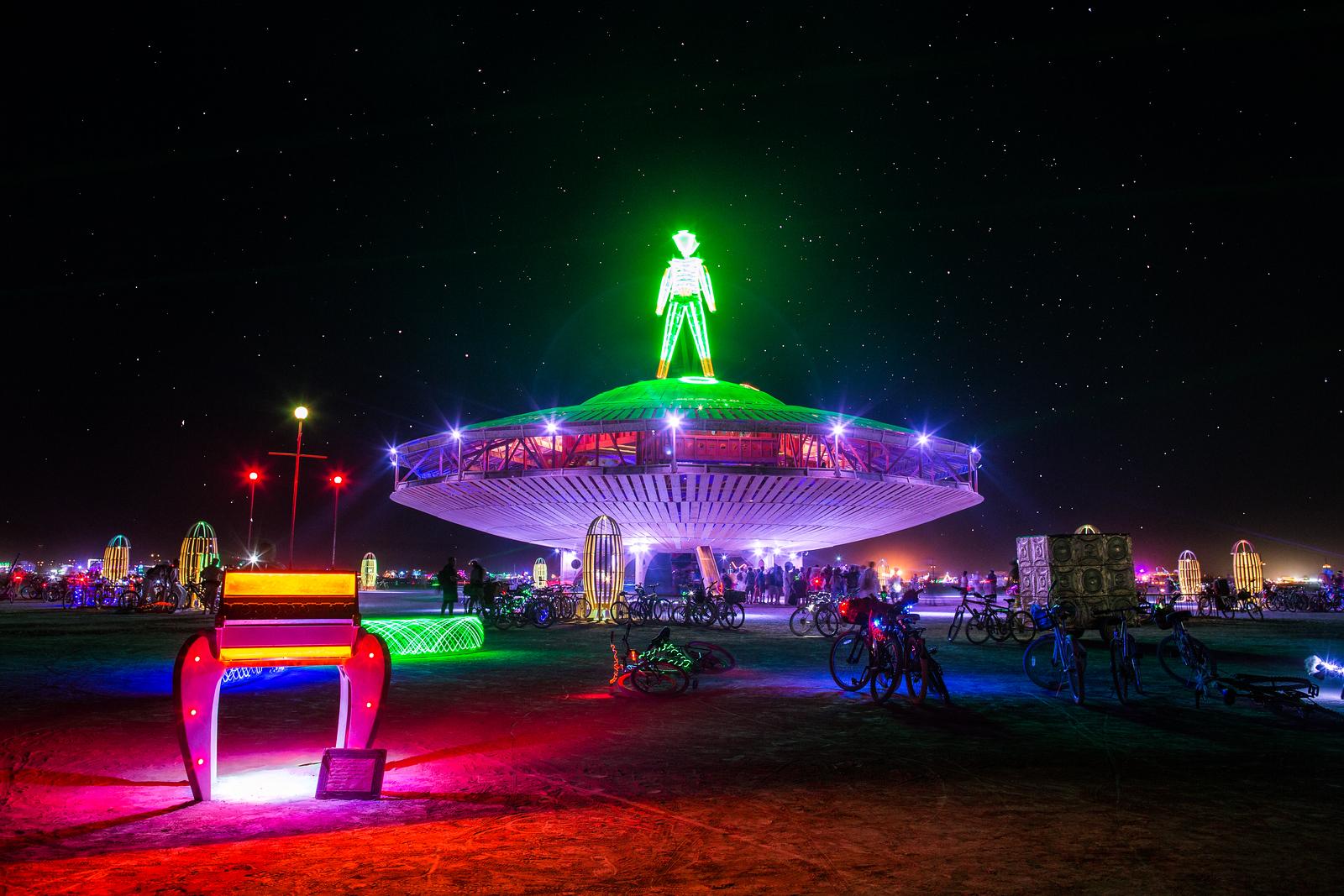 Alien Mothership on a Starry Night at Burning Man