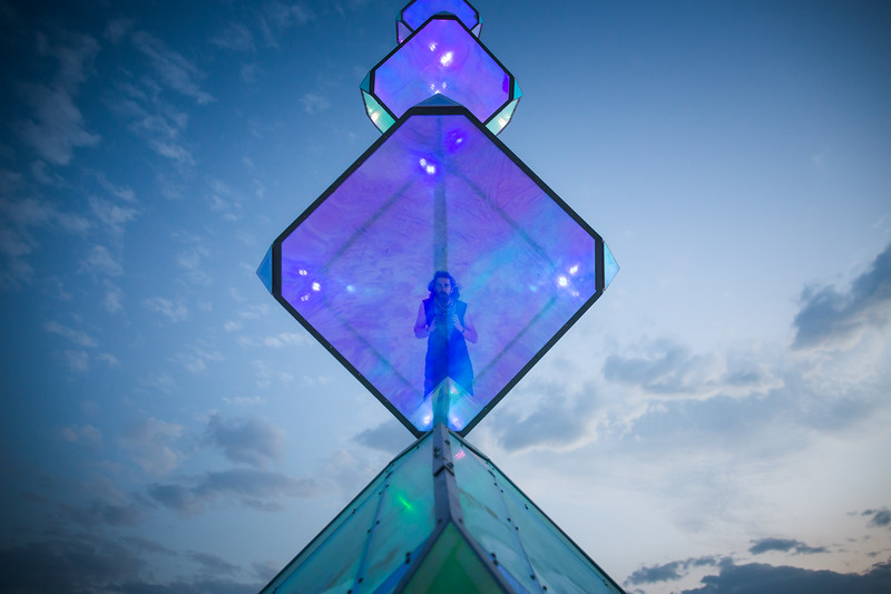 I found this colorful and reflective piece of art at Burning Man to create a version of a selfie with.