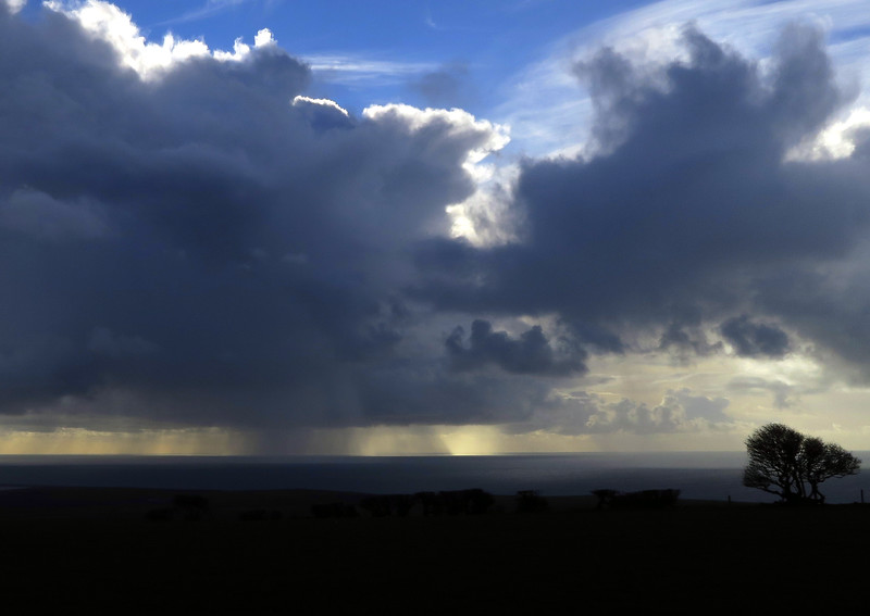 A distant rain squall.