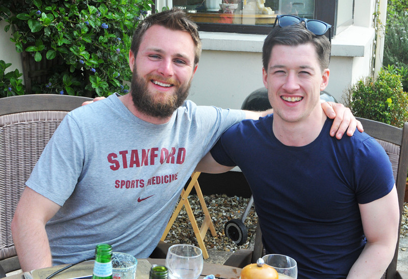 Bro' solidarity. Nephews Ian and Brian.