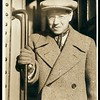 Feuchtwanger getting off a train in the United States, 1932 or 1933