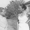 Lion Feuchtwanger and wife Marta outside in Pacific Palisades, 1945