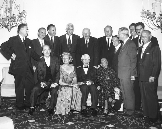 Lion Feuchtwanger and wife Marta with friends at Sandberg Dinner, 1958.