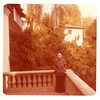 Color photo of Marta Feuchtwanger on balcony of Villa Aurora, 1977