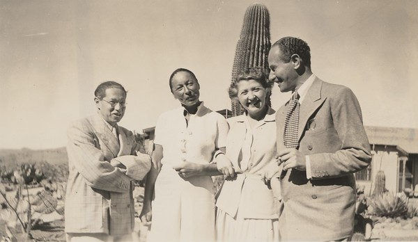Lion Feuchtwanger and wife Marta and two friends posing in front of a cactus in Mexico, 1941