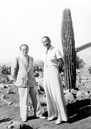 Lion Feuchtwanger and wife Marta posing in front of a cactus in Mexico, c. 1941
