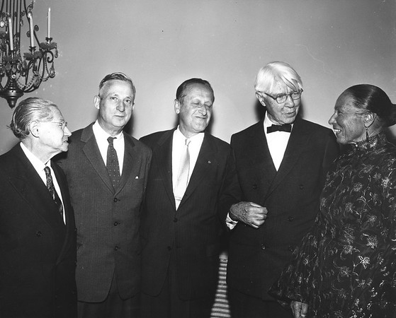 Lion Feuchtwanger and wife Marta with friends at Sandburg Dinner, 1958