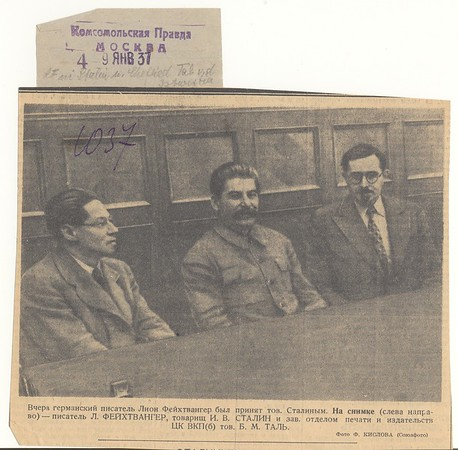 Lion Feuchtwanger seated with Stalin and a third man, 1937